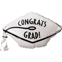 Foil White Graduation Cap Balloon 18in