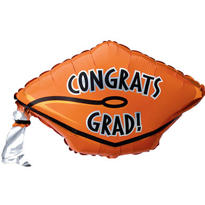 Foil Orange Graduation Cap Balloon 18in
