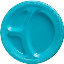 Caribbean Blue Plastic Divided Dinner Plates 20ct