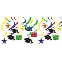 Cool Grad Graduation Hanging Swirl Decorations 24in 15ct