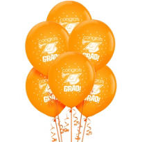 Orange Latex Graduation Balloons 15ct