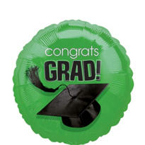 Foil Green Congrats Grad Graduation Balloon 18in