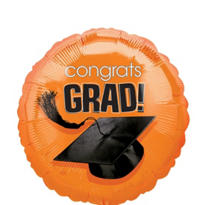 Foil Orange Congrats Grad Graduation Balloon