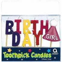 Happy Birthday Girl Toothpick Candles 9ct
