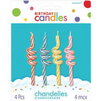 Coil Spiral Birthday Candles 3in 4ct