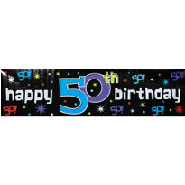 The Party Continues 50th Metallic Giant Sign Banner 65in x 20in