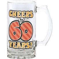 60th Birthday Glass Tankard