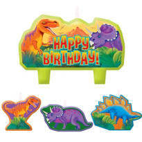 Prehistoric Dinosaurs Birthday Candles 4ct