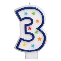 Number 3 Birthday Candle 3in
