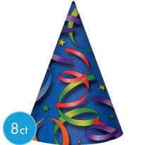 Party Hats 8ct - Party Streamer