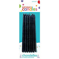 Black Mini Taper Birthday Candles 5in 12ct