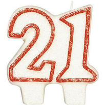 Number 21 Red Glitter Birthday Candle 3in