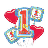 Hugs & Stitches Boy's 1st Birthday Balloon Bouquet 5pc