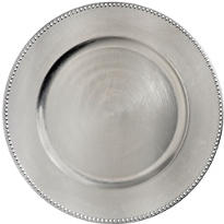 Silver Metallic Round Plastic Charger 14in