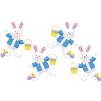Easter Bunny Cutouts 14in 4ct