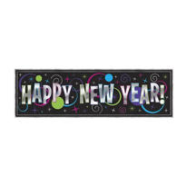 Giant Metallic New Years Sign Banner 5 1/2ft