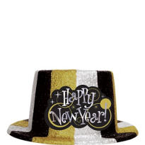 Gold and Silver Glitter New Year Top Hat 5in