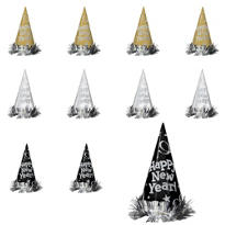 Black, Gold & Silver New Years Cone Hats 12ct