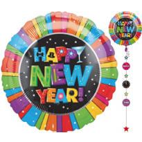 Foil Happy New Years Drop-A-Line Balloon 32in