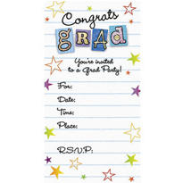 Graduation Wishes Glitter Graduation Inviotations 8ct