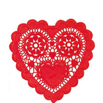Red Heart Shaped Doilies 20ct
