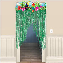 Tropical Birds Door Curtain 54in