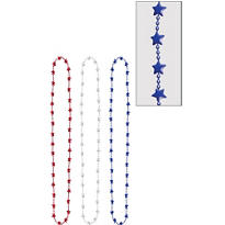 Patriotic Metallic Star Bead Necklaces 33in 3ct