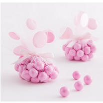 Pink Dot Tulle Baby Shower Favor Circles 12ct
