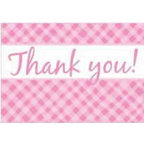 Pink Plaid Baby Shower Thank You Notes 8ct