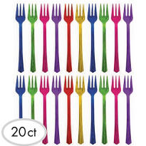 Jewel Tone Cocktail Forks 24ct