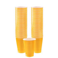 Sunshine Yellow Plastic Cups 12oz 50ct