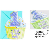 1st Birthday Blue Jumbo Invitations 8ct