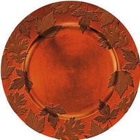 Orange Embossed Round Plastic Charger