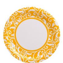 Sunshine Yellow Ornamental Scroll Lunch Plates 8ct