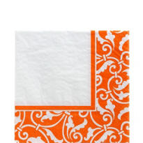 Orange Ornamental Scoll Lunch Napkins 16ct