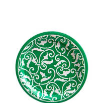 Festive Green Ornamental Scroll Dessert Plates 8ct