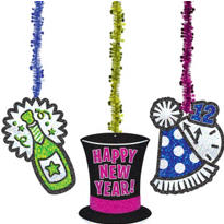 Tinsel & Glitter New Years Dangling Cutouts 30in 3ct