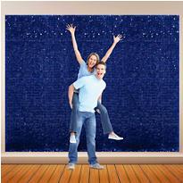 Royal Blue Vinyl Floral Sheeting