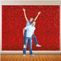 Red Metallic Floral Sheeting