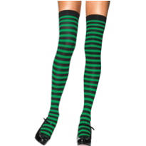 Adult Green and Black Striped Thigh High Stockings