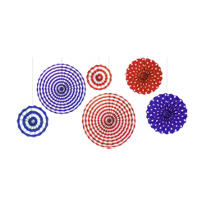 Red, White & Blue Fan Decorations 6ct