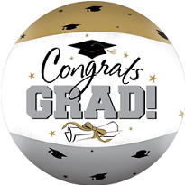 Black & Gold Graduation Autograph Beach Ball 22in