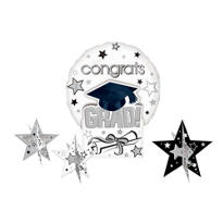 White Congrats Grad Graduation Balloon Centerpiece 5pc