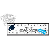White Personalized Giant Graduation Banner 65in