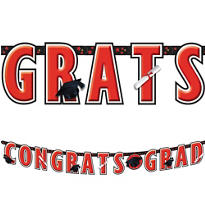 Red Graduation Letter Banner 10ft