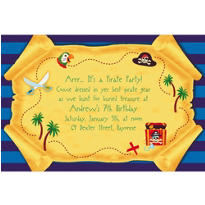 Pirate Party Map Custom Invitation