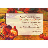 Festive Turkey Custom Invitation