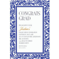Royal Blue Ornamental Scroll Custom Invitation