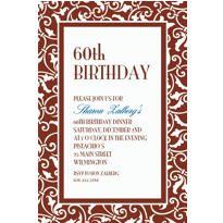 Brown Ornamental Scroll Custom Invitation