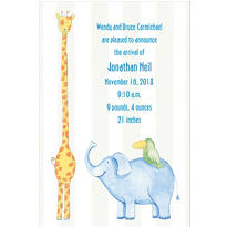 Jungle Animals Custom Birth Announcements